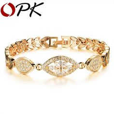 OPK Luxury Gold Plated Chain Link Bracelet for Women Ladies Shining AAA Cubic Zircon Crystal Birthday Jewelry Gift KS484