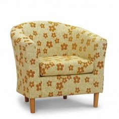 Woodstock Mustard Floral Fabric Tub Chair