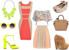 Neon & Nude - how to mix bright colors with subtle shades!