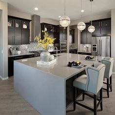 Pendant lights! Kitchen By Meritage Homes @meritagehomes