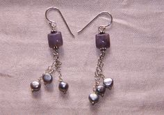 Purple Pearls - Lepidolite, silver charms and grey pearls.