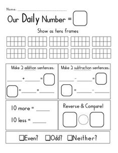 FREE! OUR DAILY NUMBER: ENHANCE YOUR GO MATH! OR OTHER COMMON CORE CURRICULUM - TeachersPayTeachers.com