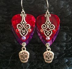 "NEW!! For the Day of the Dead, Festive ""Masquerade"" Earrings For $20!~~GUITAR PICK Jewelry from Inlightened Jewelry Design~~Visit our Site for These Unique Beauties and More!"