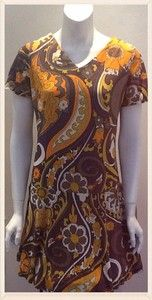 Vintage 1960s Bright Pucci Inspired Print Summer Dress Size 12UK