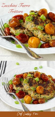 Zucchini Farro Fritters with Slow Roasted Tomatoes Healthy Dessert Recipes, Dinner Recipes, Healthy Dinners, Delicious Recipes, Slow Roasted Tomatoes, Healthy Zucchini, Veggie Noodles, Vegetarian Lunch, Perfect Food