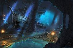 fantasy, pirate ship, and treasure image