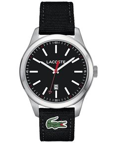 Lacoste - 2010778 - Men's Auckland Quartz Analogue Watch with a Black Watch Face and Strap Lacoste Shop, Lacoste Men, Auckland, Casual Watches, Watches For Men, Watch Faces, Black Fabric, Jewelry Watches, Quartz
