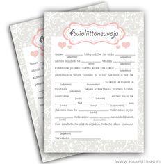 Avioliittoneuvoja-hääpeli, sydämet, 10 kpl/pkt - Hää- ja juhlaputiikki Ribbon & Ink Wedding Games, Dream Wedding, Wedding Dreams, Wedding Decorations, Bullet Journal, Sari, Weddings, Diy, Wedding Matches