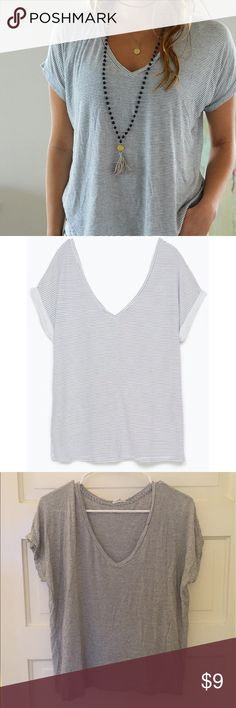 Zara striped v neck t shirt Zara striped v neck t shirt. Super soft and comfortable. Worn gently. Zara Tops Tees - Short Sleeve