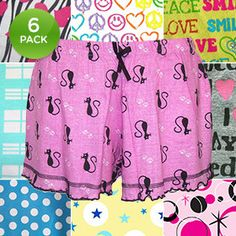 6-Pack: 100% Cotton PJ Shorts with Satin Bow - Assorted Styles