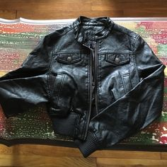 Jou jou faux leather jacket So nice but way too small for me. Never worn so it's in great condition. Material doesn't really have stretch. Small but I'd say it fits extra small as well Jou Jou Jackets & Coats