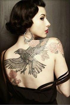 Raven Tattoo on Back - 60+ Mysterious Raven Tattoos <3 <3