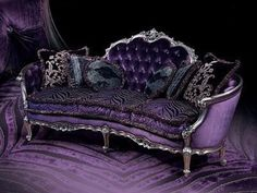 Victorian purple velvet couch