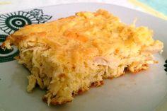 Torta de Frango sem Farelos A receita da torta de frango Dukan é uma das receitas mais praticadas e esta aqui foi extraída do livro oficial de receitas.