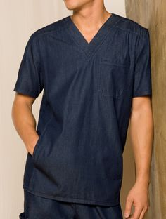 Dickies New Blue Unisex V-Neck Scrub Top 83753 Unisex Fit V-neck top features a Male Nurse, Womens Scrubs, Medical Scrubs, Men In Uniform, Glamour, Hot Outfits, New Blue, V Neck Tops, Unisex