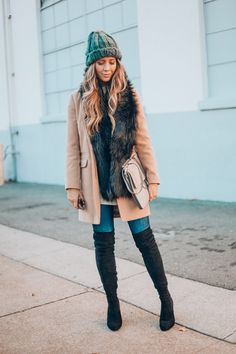 Beige Coat | Sweater | Skinny Jeans | Black OTK Boots | winter fashion tips | winter outfit ideas for women | cold weather fashion | how to style a beanie | how to style OTK boots || The Girl in the Yellow Dress #beanie #otkboots #winteroutfit