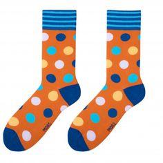 Oranžové pánske ponožky s modrými guličkami Socks, Sock, Stockings, Ankle Socks, Hosiery