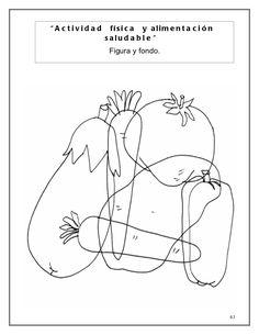"""A c tivida d fí s i c a y a l i m e n t a c i ó n salu d a b l e "" Figura y fondo. Coloring For Kids, Food Coloring, Visual Perception Activities, Hidden Pictures, Preschool Activities, Worksheets, Kindergarten, Printables, Mandala"