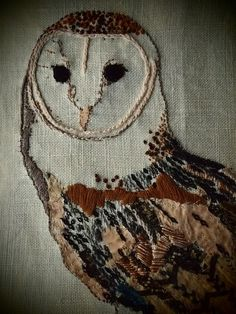 GORGEOUS owl hand embroidered by Drucilla Pettibone ( if that is her real name, it's fabulous!)