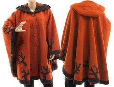 Boho hooded poncho cape wide wool poncho cape von classydress