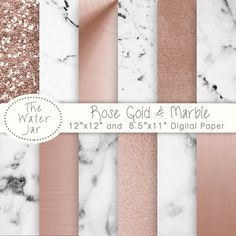Marble and Rose Gold digital paper, Commercial Use, Digital Rose Gold and Marble wallpaper, Planner Sticker Resources