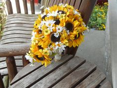 Cascading Sunflower Silk Bridal Bouquet and Grooms by mtfloral, $105.00