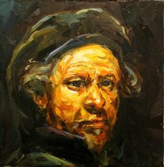 Paul Wright Self Portrait after Rembrandt - 2010 - Oil on linen Prince Paul, Paul Wright, Yellow Cloud, Small Paintings, Oil Paintings, Painting Collage, Small Faces, Modern Artists, Artist Gallery