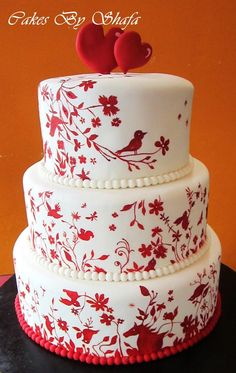 cake: red stenciled birds