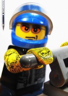 tattooed LEGOS. (advertisement for PILOT extra-fine pens) via Barcelona's Grey agency