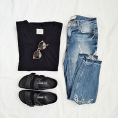How to wear birkenstock summer minimal classic trendy ideas Casual Outfits, Cute Outfits, Hipster Outfits, Gina Tricot, Mein Style, Looks Black, Looks Style, Look Chic, Mode Inspiration