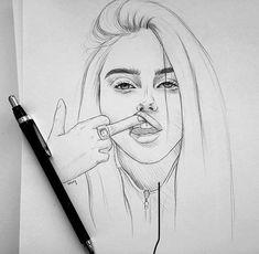 Drawing On Creativity - Zeichnungen - Tumblr Drawings, Bff Drawings, Realistic Drawings, Cool Drawings, Pencil Sketch Drawing, Pencil Art Drawings, Art Sketches, Arte Sketchbook, Scary Art