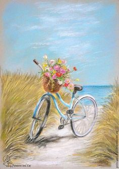 Precious bicycle on the beach painting with flowers in the basket. Precious bicycle on the beach painting with flowers in the basket. Art And Illustration, Bicycle Painting, Bicycle Art, Pictures To Paint, Art Pictures, Pastel Art, Beautiful Paintings, Beach Paintings, Painting Inspiration