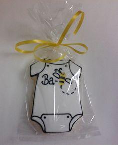 Ba-Bee Shower Cookie Favors Onesie Cookies, Baby Cookies, Baby Shower Cookies, Iced Cookies, Cute Cookies, Royal Icing Cookies, Cupcake Cookies, Sugar Cookies, Cupcakes