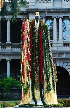 On June 11 each year (King Kamehameha I Day, a state holiday — reportedly Kamehameha's birthday), dozens of leis are draped around the neck and outstretched arms of this bronze likeness of the man who united the Hawaiian Aloha Hawaii, Honolulu Hawaii, Hawaii Travel, Kauai, Hawaiian Homes, Hawaiian Leis, Oahu Vacation, King Kamehameha, Waikiki Beach