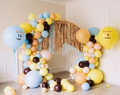 fringe streamer metallic arch with balloon garland inspo Balloon Backdrop, Balloon Garland, Balloon Decorations, Streamers, Big Balloons, Birthday Balloons, Deco Ballon, 1st Birthday Photoshoot, Cool Paper Crafts