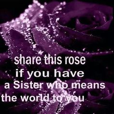 THE BEST SISTER EVER!!! I come from a family of 6 girls. I am the  oldest. She is 5th in line. After all these years sad and disfunctual living. We have been the best of friends. Through good and bad we are there for each other.