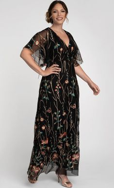 Plus Size Black and Gold Floral Print Maxi Dress With Sleeves.  This plus size black maxi dress is designed with stunning floral embroidery comprised of gold and eye-catching colors   #PlusSizeDresses #getthelook #PlusSize #PlusSizeFashion #PlusSizeStyle #CurvyGirl #plussizedivas #boldcurvyfashionista #curvy #curvyfashionista #Fashion #Style