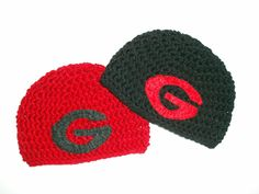 """University of Georgia Bulldogs Crocheted Hat Black with Red  """"G"""" or Red with Black """"G"""" (Newborn - 4T) Great for Photo Prop by EweniqueBoutique on Etsy https://www.etsy.com/listing/169635805/university-of-georgia-bulldogs-crocheted"""