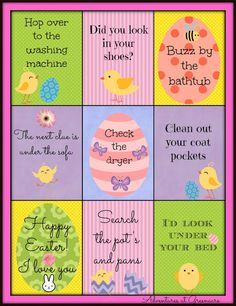 Free printable Easter egg hunt clues