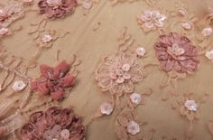 Embroidered Double Scalloped Blush Pop Out Floral Design on Pink Lace