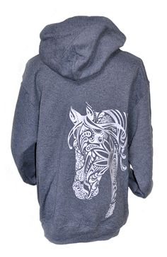 "BOHO Horse hoodie from Live for the Ride is sure to be your favorite in the closet this year. She is printed with Liquid Silver and adorns a lucky horseshoe and swirls on the front, ""Live for the Ride"" down the sleeve, and BOHO Mare on the back -she is simply fabulous! BOHO is Vintage soft, preshrunk AND comes with a 100% money back guarantee!"