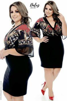 Vestido Plus Size Késila Fashion For Chubby Ladies, Big Girl Fashion, Curvy Women Fashion, Plus Size Fashion, Fat Girl Outfits, Curvy Outfits, Fashion Outfits, Fashionable Outfits, Fashion Tips