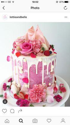 Pink Pink Birthday Cakes, Novelty Birthday Cakes, Beautiful Birthday Cakes, Beautiful Cakes, Amazing Cakes, Baby Girl Birthday Cake, Happy Birthday, Drippy Cakes, 21st Cake