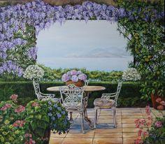 """""""Sulla terrazza"""" olio su tela (60 x 80)"""