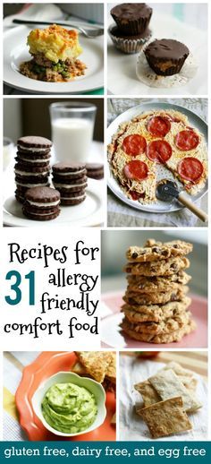 recipes for allergy friendly comfort food. Gluten free, dairy free, and egg free recipes from 31 recipes for allergy friendly comfort food. Gluten free, dairy free, and egg free recipes from Dairy Free Eggs, Dairy Free Diet, Lactose Free, Dairy Free Snacks, Egg Free Recipes, Allergy Free Recipes, Celiac Recipes, Healthy Recipes, Cookie Recipes