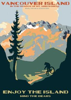Another National Park inspired design. This image will appeal to the Mountain Bike enthusiast, bear enthusiast, or mountain biking bear enthusiast. Sizes ra