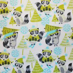 Snuggle Flannel Fabric-Winter RaccoonSnuggle Flannel Fabric-Winter Raccoon,
