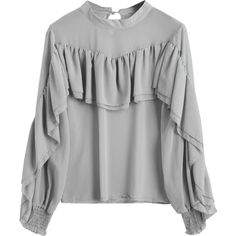 Chiffon Ruffle Long Sleeve Top ($19) ❤ liked on Polyvore featuring tops, blouses, flutter blouse, long sleeve ruffle blouse, ruffle top, gray blouse and chiffon blouses