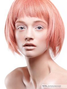 peach pink bob with bright nude makeup
