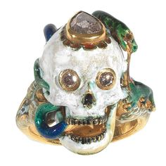 Attilio Codognato Renaissance Style Enamel Diamond Gold Skull Snake Lizard Ring | From a unique collection of vintage dome rings at https://www.1stdibs.com/jewelry/rings/dome-rings/